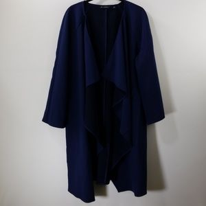 H By Halston Navy Ruffled Open Front Cardigan 18W